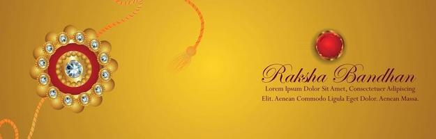 Creative vector iliustration of happy raksha bandhan celebration banner with crystal rakhi and gifts