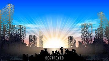 destroyed apocaliptic cityscape vector