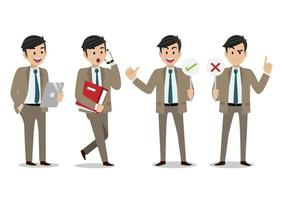 Cartoon character with businessman working character vector design