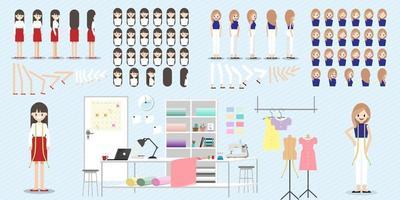 personaje de dibujos animados con trabajo de diseñador de moda para animación y vector de icono plano de conjunto de cabeza de dama