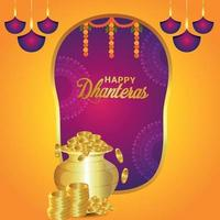 Happy dhanteras celebration greeting card with vector illustration gold coin pot and garland flower