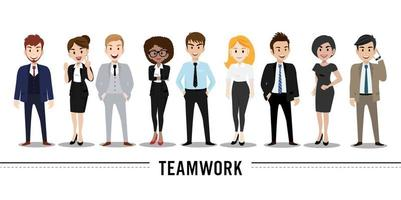 Cartoon character with business man and business woman flat vector illustration