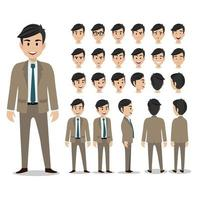 Cartoon character with business man in suit for animation flat icon vector