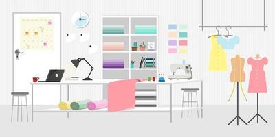 Moda o sala de estudio de costura banner horizontal o concepto de sastrería vector icono plano