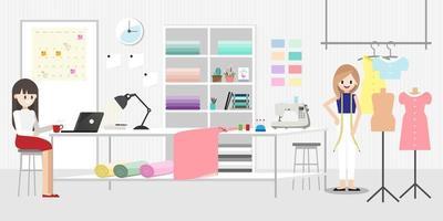 personaje de dibujos animados con trabajo de diseñador de moda en moda o sala de estudio de costura banner horizontal o concepto de sastrería vector icono plano