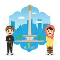 Birthday Jakarta Background with Character vector