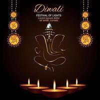 Diwali festival of light celebration background with golden ganesha and diwali diya vector
