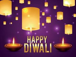 Happy diwali the festival of light celebration greeting card with diwali lamp on purple background vector