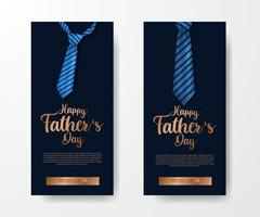 trendy elegant luxury social media stories banner invitation for father day with illustration neck tie with blue background vector