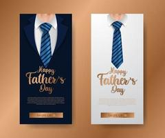 trendy elegant luxury social media stories banner invitation for father day with illustration of coat ad tie with golden text vector