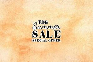 Summer sale watercolor hand painted background texture aquarelle abstract emerald backdrop horizontal template vector