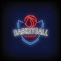 Basketball Academy Neon Signs Style Text Vector