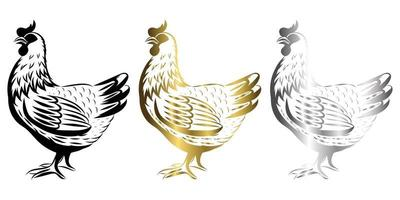 Vector Line Art Illustration logo of a chicken It is standing there are three color black gold silver