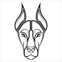 Black and white line art of Doberman Pinscher dog head Good use for symbol mascot icon avatar tattoo T Shirt design logo or any design you want vector