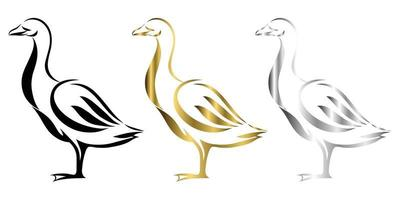 Vector Line Art Illustration logo of a goose It is standing there are three color black gold and silver