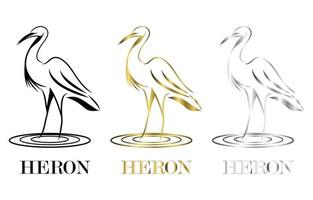 Line art vector logo of heron that is standing three color black gold silver