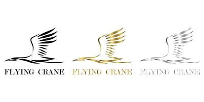 Line art vector logo of crane that is flying three color black gold silver