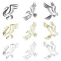 conjunto de arte lineal vector logo de tres tipos de aves volando hay cisnes guacamayos y cálaos se pueden utilizar como logotipo o elementos decorativos