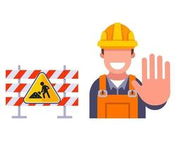fences for road repair restriction of travel on the highway flat vector illustration