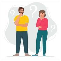 Thinking man and woman vector