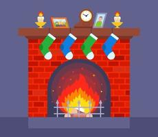 cozy red brick fireplace home for heating the room flat vector illustration