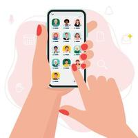 Social media clubhouse app for drop in audio chat application on smartphone vector