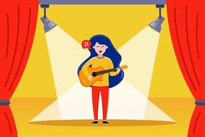 girl guitarist performs on stage flat vector illustration