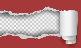 Torn red paper frame on transparent background vector