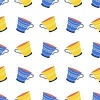 las tazas son azules y amarillas sobre un fondo blanco vector de papel tapiz de patrones sin fisuras