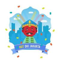 Birthday Jakarta Greeting Card With Traditional Puppet vector