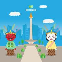 Birthday Jakarta Background with Traditional Puppet vector