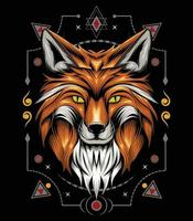vector fox animal face with ornament background