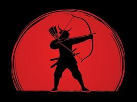 Silhouette Samurai Warrior Archer vector