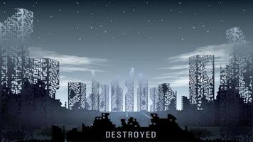 apocalypse destroyed dark city vector