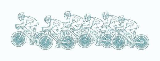 grupo de contorno de carreras de bicicletas vector