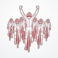 Grupo de contorno de carreras de bicicletas el ganador. vector