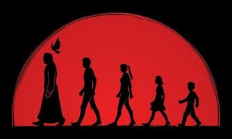 People Follow Jesus Silhouette vector