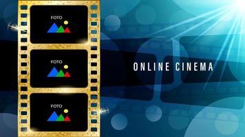 Online cinema gold film stripe background vector