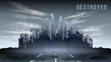 apocalyptic destroyed dark city vector