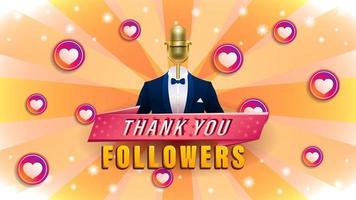 gracias seguidores fondo de micrófono dorado vector