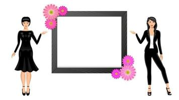 Two young womans blank picture frame vector