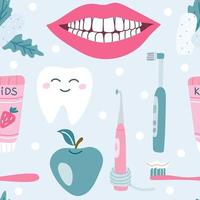 Dental care oral hygiene Chewing gum pasta snow white smile apple Vector seamless pattern on a blue background