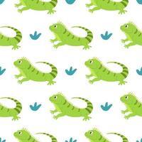 Linda iguana divertida sobre un fondo blanco vector de patrones sin fisuras en dibujos animados estilo plano decoración para niños carteles postales ropa e interior