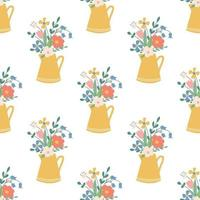 Cute beautiful flowers in a yellow jug Vector seamless pattern in a flat style on a white background Floral decorative wallpaper