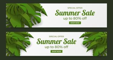summer sale offer banner promotion with green tropical leaves illustration concept vector