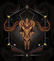 Vector illustration Goat skull and Sacred geometric symbol on vintage background