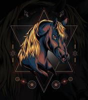 Mythical horse illustration on sacred ornament vector