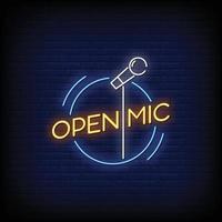 vector de texto de estilo de letreros de neón de micrófono abierto