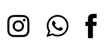 social media icons instagram facebook and whatsapp black vector