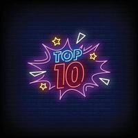 Top Ten Neon Signs vector